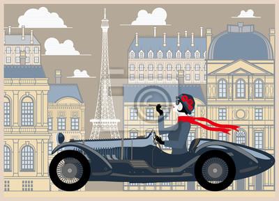 Flapper fille dans une voiture rétro sur fond de Paris. Illustration vectorielle dessin dessinée à la main. Style vintage.