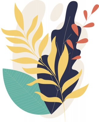 Posters Flat modern floral foliage illustration on the white isolated background. Abstract shapes.