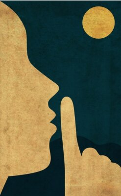 Posters Flat style illustration of the hush gesture during a quiet night with full moon