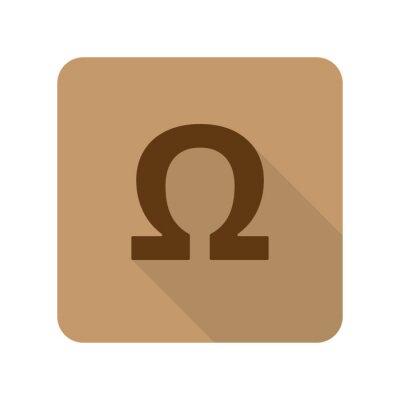 Posters Flat style Omega icône d'application Web sur fond brun clair