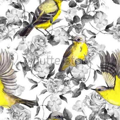 Posters Fleurs et oiseaux de prairie sauvage. Aquarelle. Modèle sans couture neutre dans des couleurs noir et blanc monochromes avec des oiseaux brillants