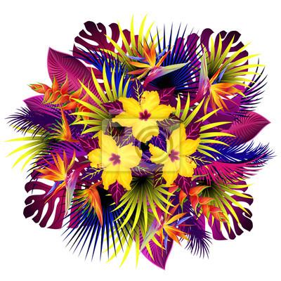 Posters Fleurs Exotiques Bouquet De Fleurs Strelitzia Hibiscus Et Héliconia