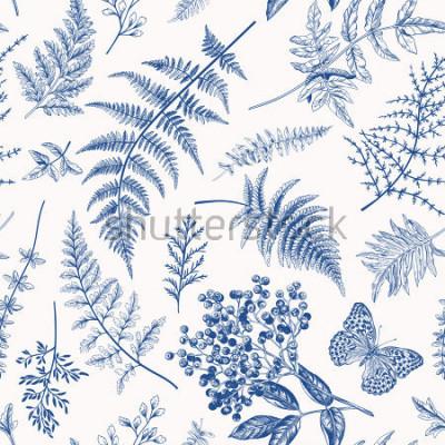 Posters Floral pattern sans couture dans un style vintage. Diverses feuilles de fougères, de baies et de papillons. Illustration botanique vectorielle. Bleu.