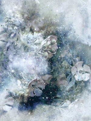 Posters Flovers et arrière-plan d'hiver, art de style ancien, collage d'ordinateur.