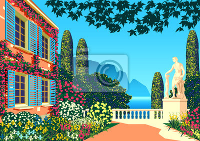 Flower garden near a country house with a statue, park, sea and mountains in the background on a sunny summer day.