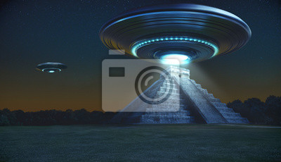 Posters Flying saucer on Maya pyramid ruins Chichen itza in the early night with a light energy ray - 3d rendering - concept art