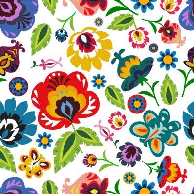 Posters Folklorique polonaise motif floral vecteur