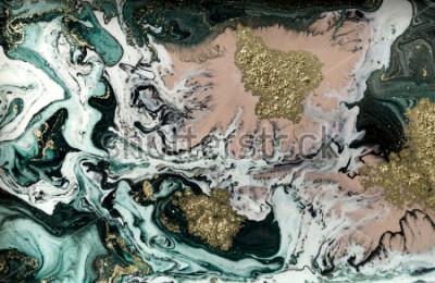 Posters Fond acrylique abstraite en marbre. Texture d'illustration marbrée. Motif d'ondulation en agate. Poudre d'or.