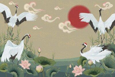 Posters fond avec des grues japonaises au coucher du soleil