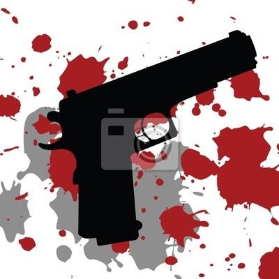 Fond avec une arme à feu arme à feu et de taches de sang