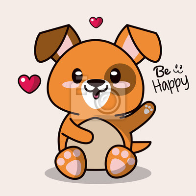 Posters Fond Coloré Avec Mignon Kawaii Animal Chien Salutation Expression