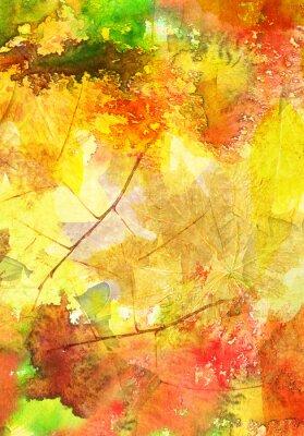 Posters Fond d'aquarelle avec des feuilles d'automne