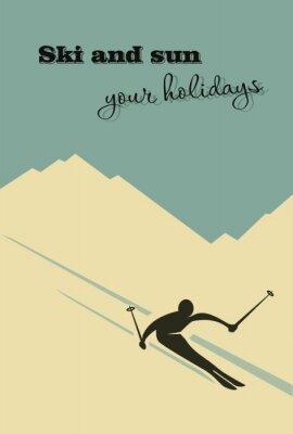 Posters Fond d'hiver. Le skieur glisse de la montagne.