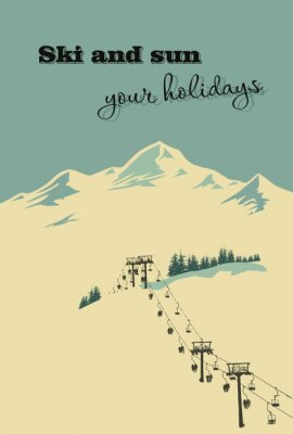Posters Fond d'hiver. Montagne, paysage, téléski