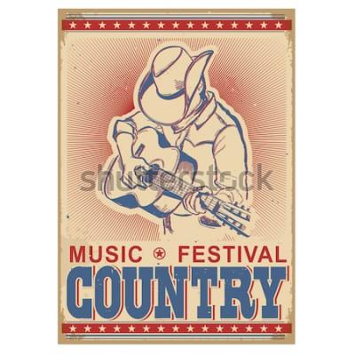 Posters Fond de festival de musique américaine avec musicien jouant de la guitare. Affiche rétro de vecteur avec texte sur papier ancien
