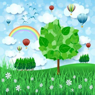 Posters Fond de printemps avec grand arbre et montgolfières