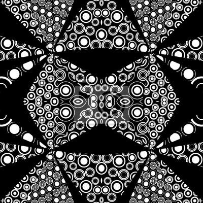 Fond noir et blanc de kaléidoscope fait de cercles et des points