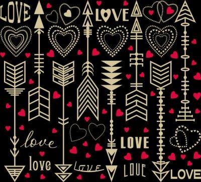 Fond ou motif sans couture avec des flèches délicates, des coeurs et des inscriptions d'amour pour l'utilisation dans les cartes, les affiches, les invitations à la Saint-Valentin. Style vintage.