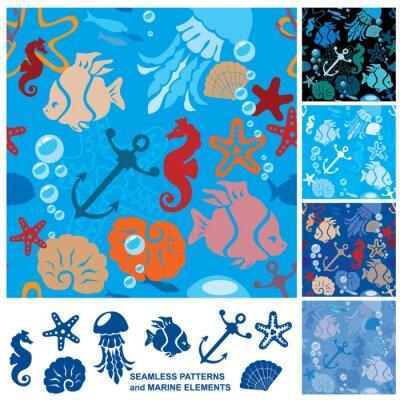 Posters Fond sans soudure avec la vie marine