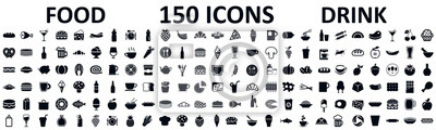 Posters Food and drinks set 150 icons for menu, infographics, design elements – stock vector