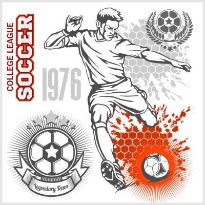 Posters Football, joueur, kicking, balle, football, emblèmes