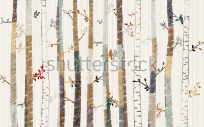 Posters Forest tree pattern on decorative background wallpaper