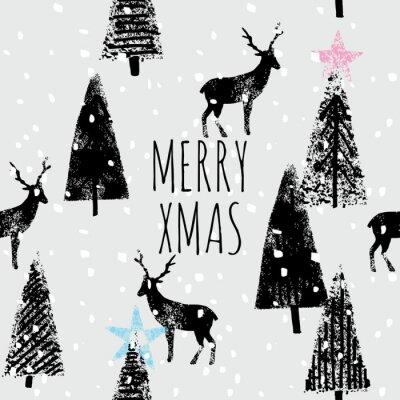 Posters forêt d'hiver dessiné à la main motif à la mode