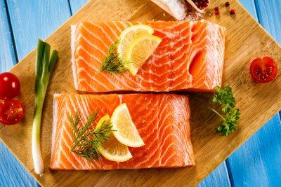 Posters Frais, cru, saumon, filets, planche à découper