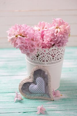 Posters Frais, rose, jacinthes, fleurs, seau, décoratif, coeur