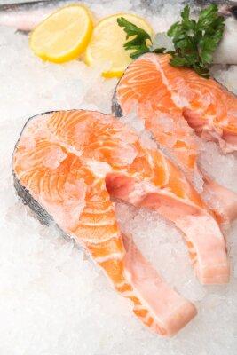 Posters Frais, saumon, fish, citron, marché