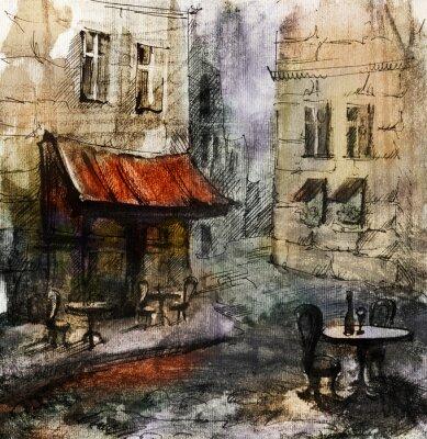 Posters Français café en plein air la peinture européenne, dessin graphique en couleurs