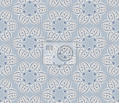 Posters  French shabby chic floral linen vector texture background. Pretty daisy flower on blue seamless pattern. Hand drawn floral interior home decor swatch. Classic rustic farmhouse style all over prin