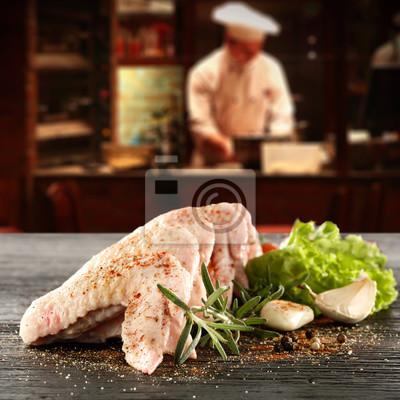 fresh food in restaurant