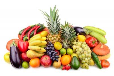 Posters fruits et légumes frais isolé sur blanc