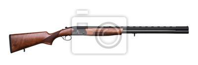 Posters fusil de chasse à canon double chasse isolé sur blanc