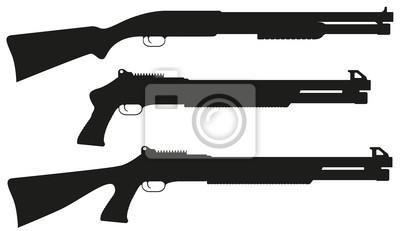 Posters fusil de chasse noir illustration vectorielle silhouette