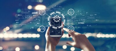 Posters Future technology concept with person using smartphone