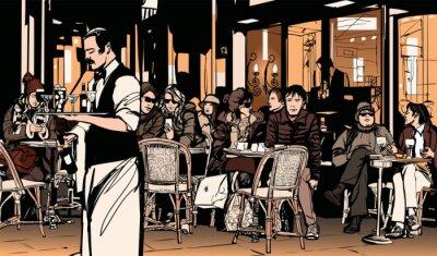 Posters Garçon de café servir les clients au café parisien traditionnel en plein air