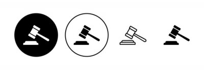Posters Gavel icon set. judge gavel icon vector. law icon vector. auction hammer