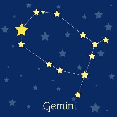 Posters Gémeaux Air Zodiac constellation avec des étoiles dans le cosmos. Image vectorielle