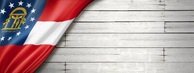 Posters Georgia flag on white wood wall banner, USA