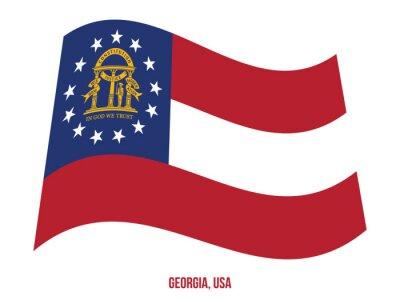 Posters Georgia Flag Waving Vector Illustration on White Background. USA State Flag