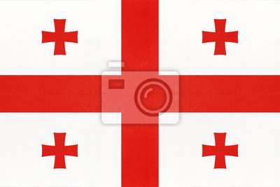 Posters Georgia national fabric flag, textile background. Symbol of international asian world country.