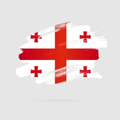 Posters Georgian flag. Vector illustration on a gray background.