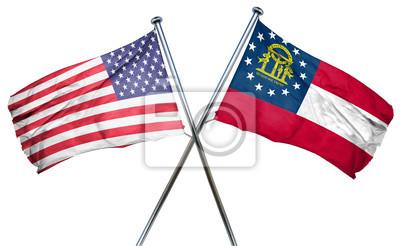 Posters Géorgie, USA, drapeau, 3D, rendre ...