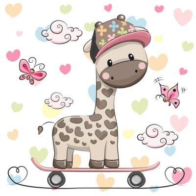 Posters Girafe mignonne avec planche à roulettes