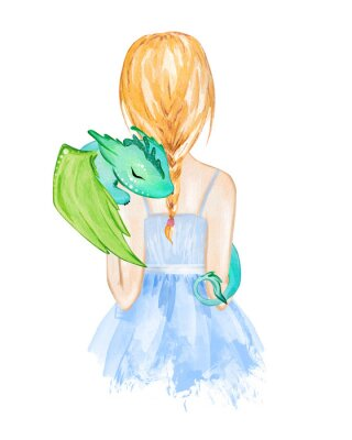 Posters Girl holding little dragon. Hand drawn watercolor illustration