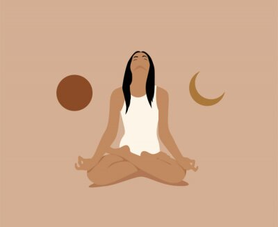 Posters Girl or woman meditate in lotus asana or position with sun and moon on both sides. Meditation or inner balance concept. Trendy minimalistic pastel terracotta colored vector illustration.