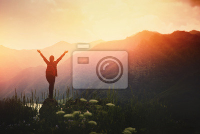 Posters Girl traveler with backpack hiking. Concept travel, lifestyle adventure active summer vacations outdoor rocky background mountains