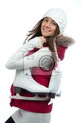 Glace activité de sports d'hiver jolie femme patinage